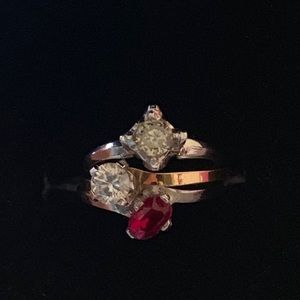 Jewelry - Natural 4.0 TCW Diamond Ruby 3-Ring Sets In 10K